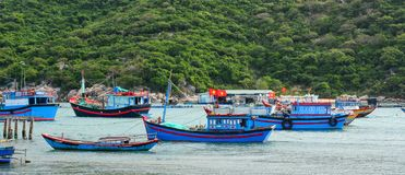 Fishing boats on sea in Nha Trang, Vietnam stock images