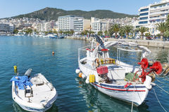 Fishing boats  in the  sea port of Kavala,Greece Royalty Free Stock Images