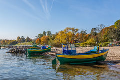 Fishing boats on sea shore in Gdynia - Orlowo, Poland Stock Images