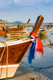 Fishing boats on the sea shore in Thailand Stock Photo