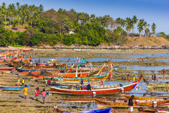 Fishing boats on the sea shore in Thailand Stock Images