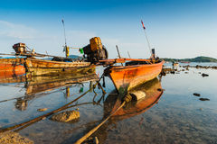 Fishing boats on the sea shore in Thailand Royalty Free Stock Photo