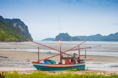 Fishing boats and sea in Thailand Stock Image