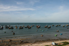 The fishing boats in the sea in vietnam Royalty Free Stock Image