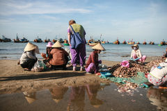 The fishing boats in the sea in vietnam Royalty Free Stock Photos