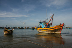The fishing boats in the sea in vietnam Royalty Free Stock Photography