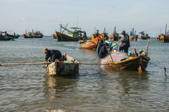The fishing boats in the sea in vietnam Stock Image