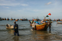 The fishing boats in the sea in vietnam Stock Photography