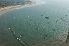 Fishing boats in the sea. Waiting for fishing. View from above Royalty Free Stock Image