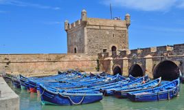 Fishing boats at the seaport of Essaouira in Morocco Stock Photo