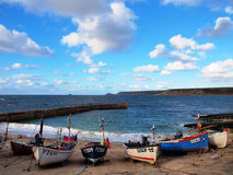 Fishing Boats Sennen Cove Cornwall. Small fishing boats on the slipway near the lifeboat house in Sennen Cove Cornwall Royalty Free Stock Images