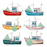 Fishing Boats Set Royalty Free Stock Images