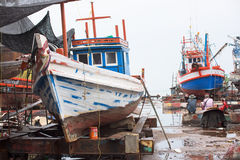 Fishing boats at shipyard in Thailand Stock Photo