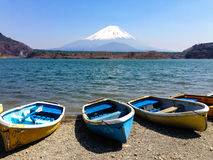 Fishing boats, Shoji Lake, Mount Fuji, Japan