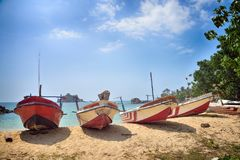 Fishing boats on the shore. Of the Indian Ocean Royalty Free Stock Images