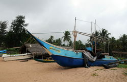 Fishing boats on the shore of the Indian Ocean. Royalty Free Stock Image