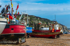 Fishing boats on the shore, pebble beach, wooden boats, fishing Stock Photo