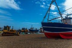 Fishing boats on the shore, pebble beach, wooden boats, fishing Royalty Free Stock Image