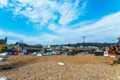 Fishing boats on the shore, pebble beach, wooden boats, fishing Royalty Free Stock Photography