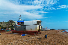Fishing boats on the shore, pebble beach, wooden boats, fishing Stock Photography