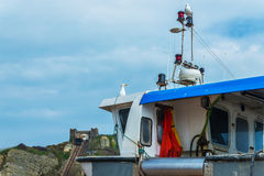 Fishing boats on the shore, pebble beach, wooden boats, fishing Royalty Free Stock Images