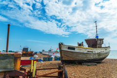 Fishing boats on the shore, pebble beach, wooden boats, fishing Royalty Free Stock Photo