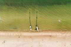 Fishing boats on the shore, top view Royalty Free Stock Photo