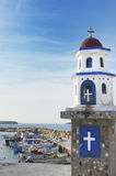 Fishing boats and shrine, Greece. Stock Photos