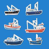 Fishing boats side view isolated labels set. Commercial fishing trawlers for industrial seafood production vector illustration. Vintage marine fleet of ships Stock Photography