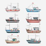 Fishing boats side view on white background. Fishing boats side view isolated set. Commercial fishing trawlers for industrial seafood production illustration in Royalty Free Stock Photos