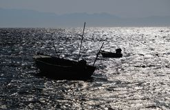 Fishing boats silhouette on Red Sea royalty free stock image