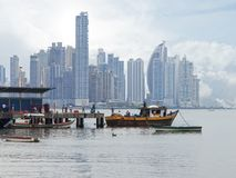Fishing boats and skyscrapers in Panama City Stock Image