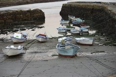 Fishing boats in small dock. Small Dock in Galicia, Northwest of Spain Stock Photography