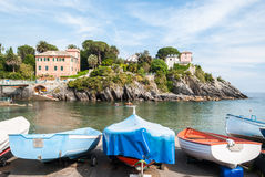 Fishing boats in the small harbor of Nervi, a sea district of Genoa Royalty Free Stock Photography