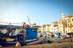 Fishing boats in small harbor in Sibenik, Croatia Royalty Free Stock Photos