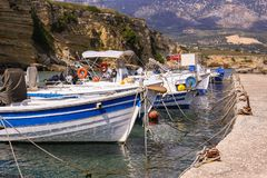 Fishing boats in port royalty free stock images