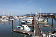 Fishing boats & small yachts in a marina. Moored yachts and fishing boats in a marina, Astoria OR Stock Photo