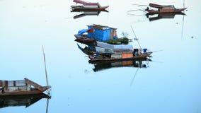 Fishing Boats in the Song Hong River -  Hanoi Vietnam stock video