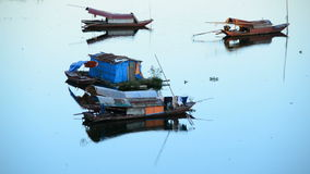 Fishing Boats in the Song Hong River -  Hanoi Vietnam stock footage
