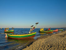 Fishing boats in Sopot. Fishing boats at the beach in Sopot, Poland Stock Photography