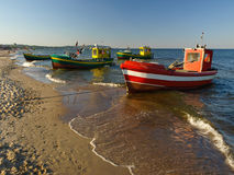Fishing boats in Sopot. Fishing boats at the beach in Sopot, Poland Stock Images