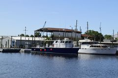 Fishing boats on the sponge docks in Tarpon Springs, Florida. Royalty Free Stock Images