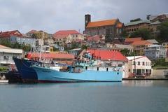 Fishing boats in St George`s Marina, Grenada Royalty Free Stock Image
