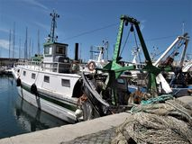 Italy, fishing port of Civitavecchia stock images