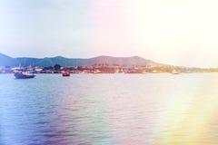 Fishing on boats and  sunlight. Toning Stock Photo