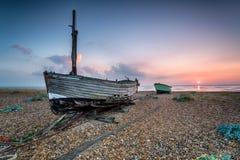 Fishing Boats at Sunrise Stock Photo