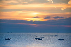 Fishing boats at sunrise, Cancale, Brittany Royalty Free Stock Images