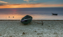 Fishing boats at sunrise,Latvia Royalty Free Stock Photos