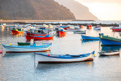 Fishing boats on the sunrise Stock Images