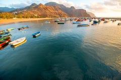 Fishing boats on the sunrise Stock Image